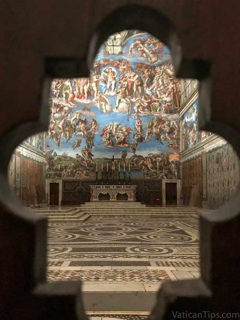 Sistine Chapel through closed door
